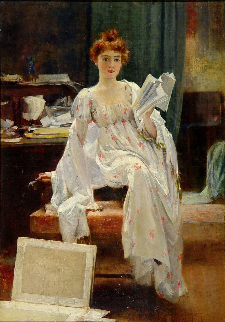 Interesting News.Francis Coates Jones (American, 1857-1932). Oil on canvas.