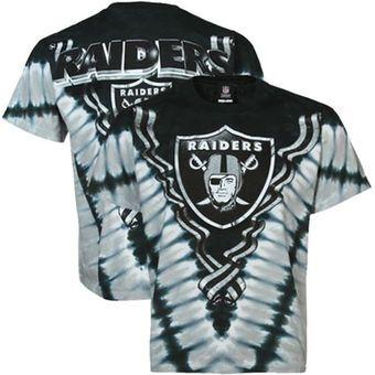 Oakland Raiders Tie-Dye Premium T-shirt - Black/Silver