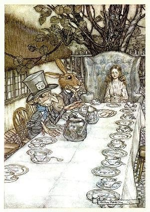 Arthur Rackham - Alice in Wonderland's very unBirthday Tea Party with the mad hatter and friends