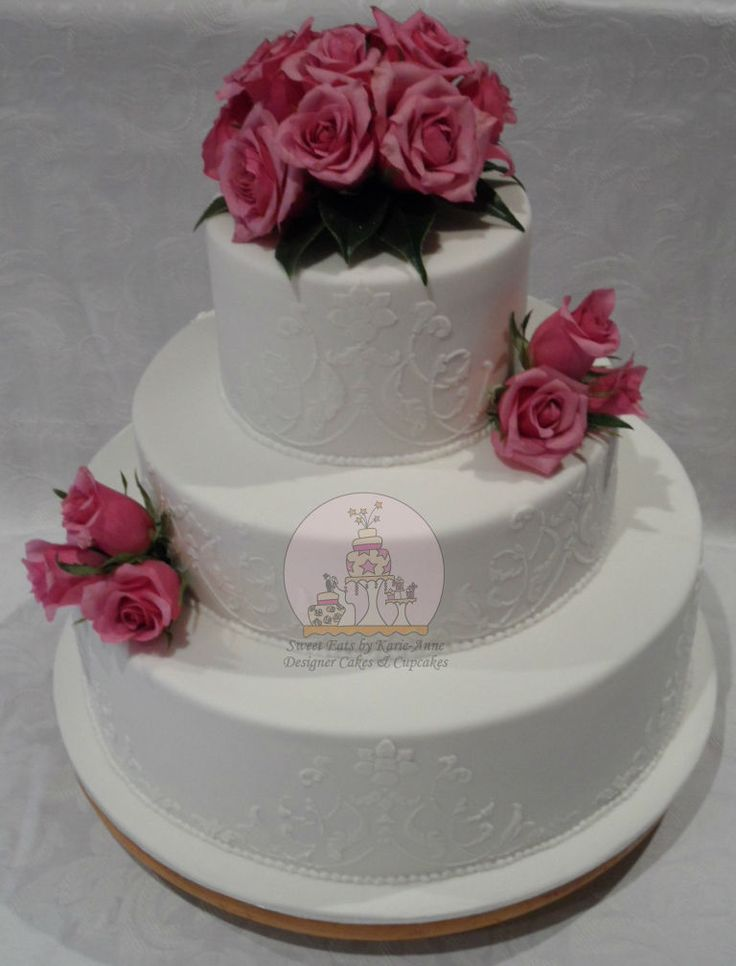 Stenciled Wedding Cake with Lilac Roses