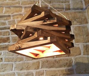 HANDMADE-RUSTIC-DISTRESSED-WOOD-CEILING-LIGHT-WOODEN-ABSTRACT-UNUSUAL-ARTISTIC