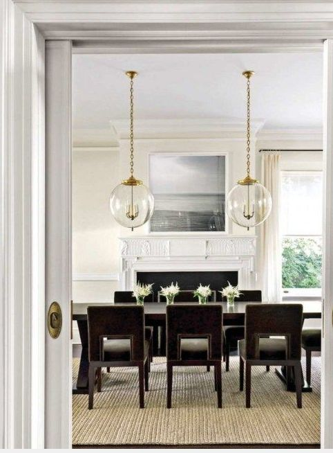 Modern Dining Chairs And 2 Pendants Over Dining Table