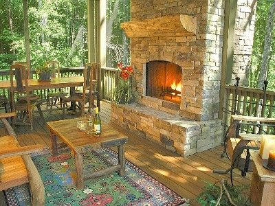 and project with porch patio room outdoor living fireplace screened