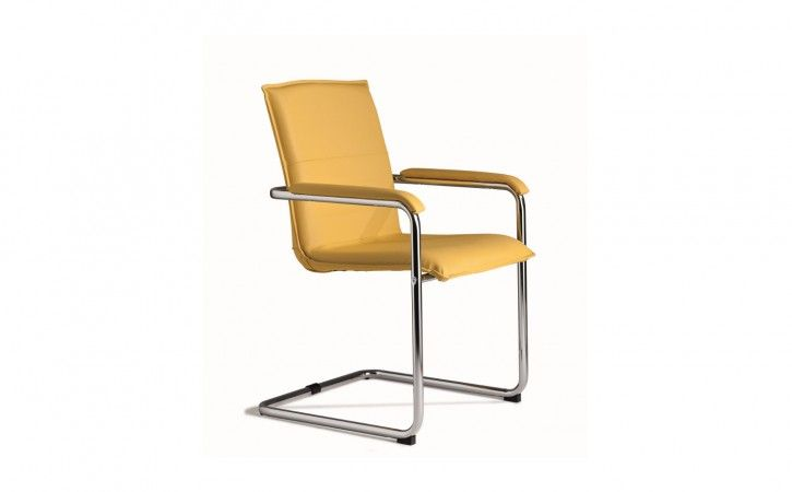 Cubic - Yellow Leather Boardroom Chair and Upholstered Arms.