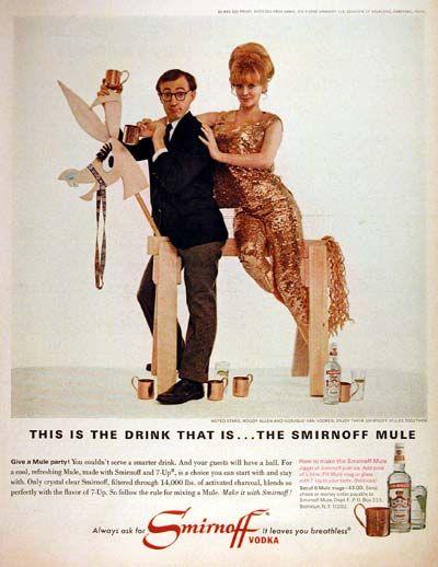 1966 Smirnoff Vodka original vintage advertisement. Photographed in rich color. With celebrity endorsement by Woody Allen and Monique Van Vooren