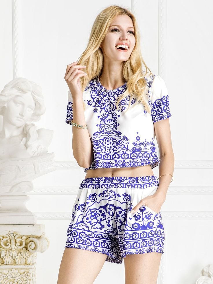 Blue, Tile Print, Short Sleeve, Crop Top And Shorts