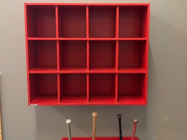 Dugout Helmet Rack For Bridge City High School Painted Safety Red Many More Sizes Available We Can Custom Build For Y Softball Dugout Dugout Baseball Dugout
