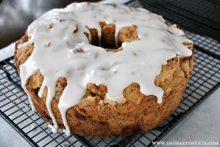 Moist, delicious Apple Cake topped with a Honey Glaze! The perfect breakfast or brunch cake recipe!