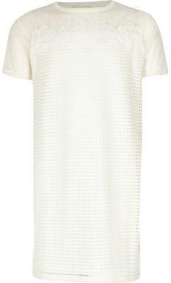River Island Girls white mesh T-shirt dress