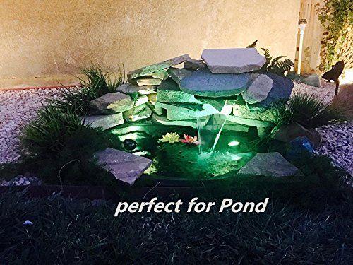 Amazon Com Pond Lights Remote Control Submersible Lamp Set Of 4 Ip68 Underwater Aquarium Spotlight 36 Led Multi Color D Pond Lights Pond Fountains Backyard
