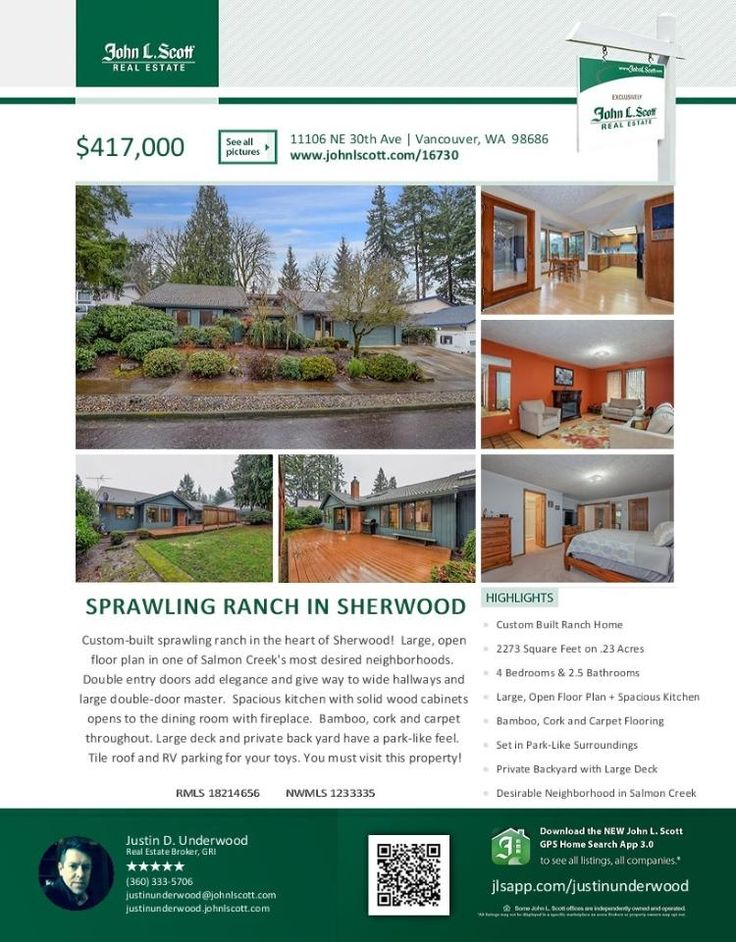 Real Estate for sale at $417,000! Come and view this custom built four bedroom, two full and one half bath, 2273 square foot sprawliing one level Sherwood ranch style home on a large .23 acre lot located at 11106 NE 30th Avenue, Vancouver, Washington 98686 in Clark County area 42 which is the South Salmon Creek area in Vancouver. The RMLS number is 18214656. It has one wood burning fireplace and a territorial view. It was built in 1985 and has an attached two car garage. The local high school...