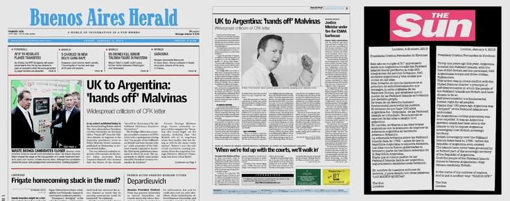 """04.01.13: El diario británico The Sun publicó un anuncio en el diario argentino Buenos Aires Herald, donde se dirige a la presidenta Fernández, para recordarle que las Malvinas """"son británicas"""" y que se mantenga alejada de ellas. """"Hasta que el mismo pueblo de las Falkland Islands decida ser argentino, seguirá siendo decididamente británico"""", dice el anuncio, que finaliza con un """"las manos quietas"""", en advertencia…"""