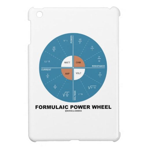 "Formulaic Power Wheel (Physics Equations) iPad Mini Cases #formulaic #powerwheel #physics #current #voltage #physicist #power #equations #geek #humor #educational #wordsandunwords Here's an iPad mini case featuring various physics equations in a ""Formulaic Power Wheel""."