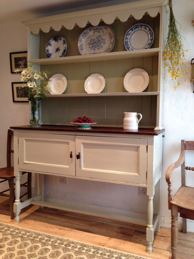 Large Antique Oak Welsh Dresser. Hand painted in Farrow and Ball. £465.