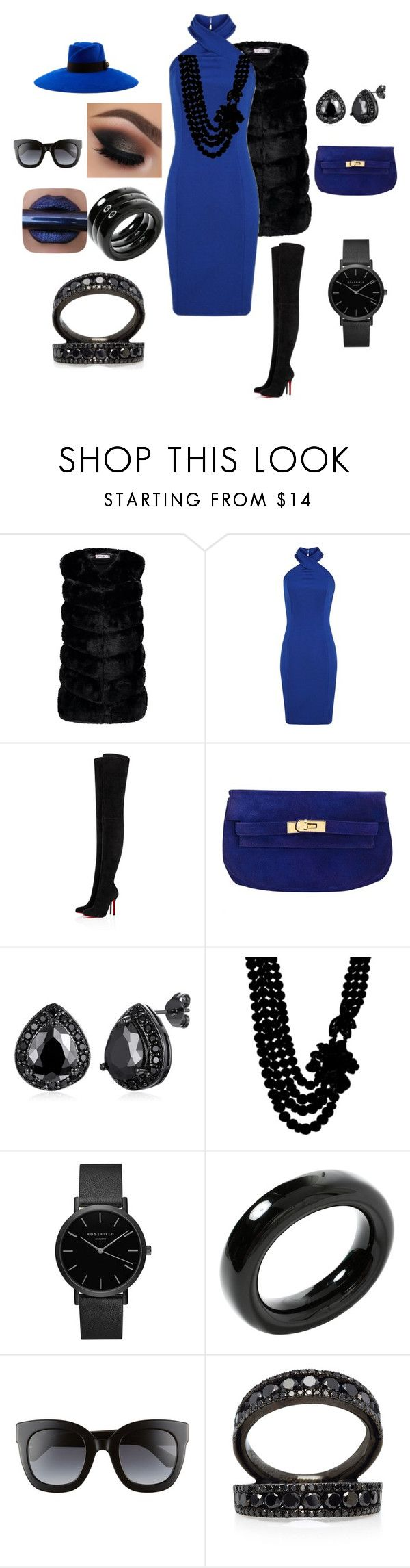 """""""ROYAL BLUE WINTER CLUBBING OUTFIT"""" by aleckmhopkins on Polyvore featuring Christian Louboutin, Hermès, Anne Klein, Topshop, Tiffany & Co., Gucci and Colette Jewelry"""