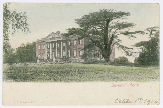 Hand coloured postcard of Claremont House Esher by GeraniumBlue