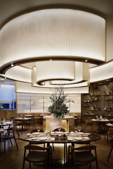 Curved Illuminated Ceiling Panels.