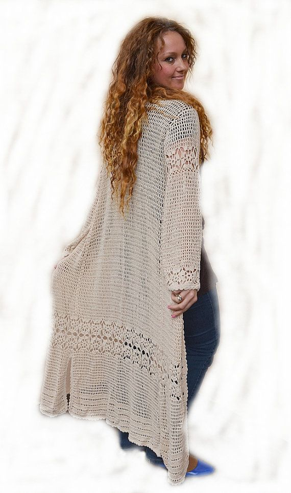 Light Beige linen crocheted coat  handmade lace long by dosiak, $150.00