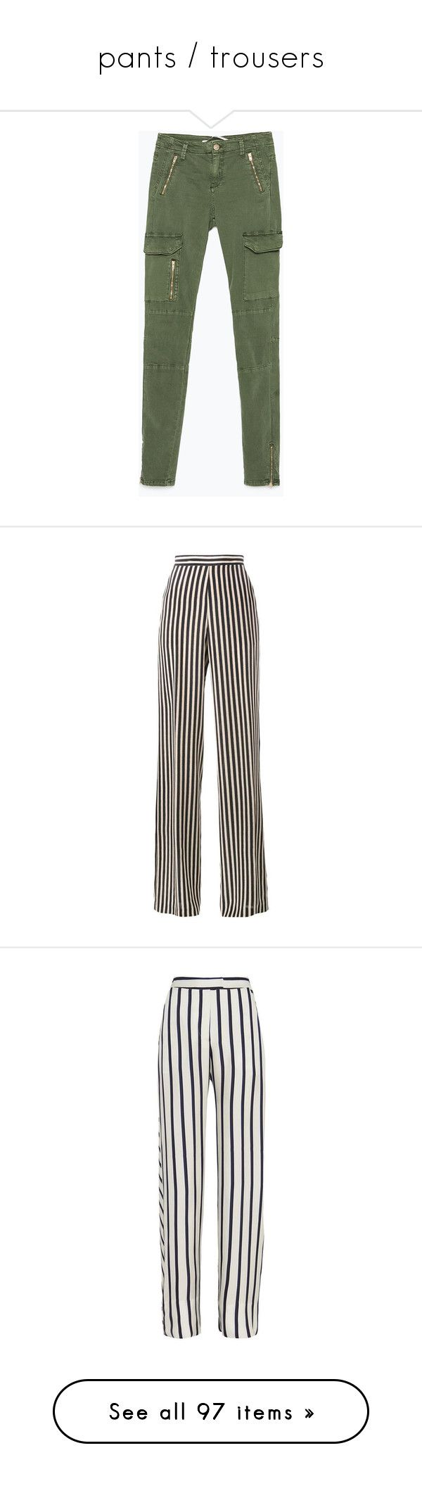"""""""pants / trousers"""" by whitesandprincess ❤ liked on Polyvore featuring pants, bottoms, jeans, pantalon, pants and shorts, military green, green pants, army green pants, olive cargo pants and skinny cargo pants"""