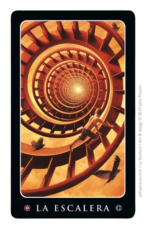 La Escalera, a Loteria Grande card from Lone Boy, featuring art & design by John Picacio. http://lone-boy.com/wp/product/once-loteria-grande-card-set/