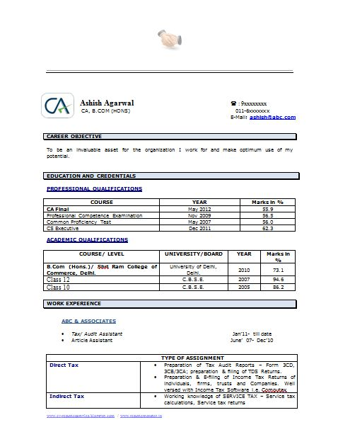 Example Template of an Experienced Chartered Accountant Resume with Great Job Profile and Career Objective, Professional Curriculum Vitae with Free Download in Word Doc / PDF (2 Page Resume) (Click Read More for Viewing and Downloading the Sample)  ~~~~ Download as many CV's for MBA, CA, CS, Engineer, Fresher, Experienced etc / Do Like us on Facebook for all Future Updates ~~~~