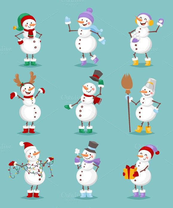 Cartoon snowman vector set