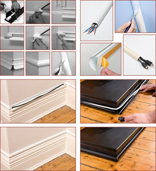 Black 30x15 Decorative Adhesive TV Cable Tidy Cover Wire Hide Trunk, Trunking
