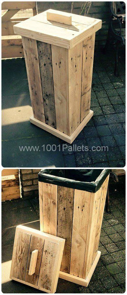 Pallet kitchen garbage make three bins, paper, plastic and cans for recycling.
