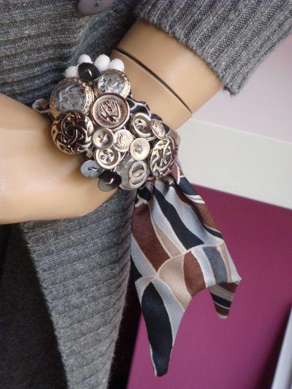 Vintage button Bracelet silvertone glass silk fabric, Upcycled jewelry