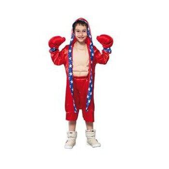 Voordelige bokser outfit voor kinderen. Rood bokser kostuum inclusief jas, broek, handschoenen en spierballen shirt. Carnavalskleding 2015 #carnaval