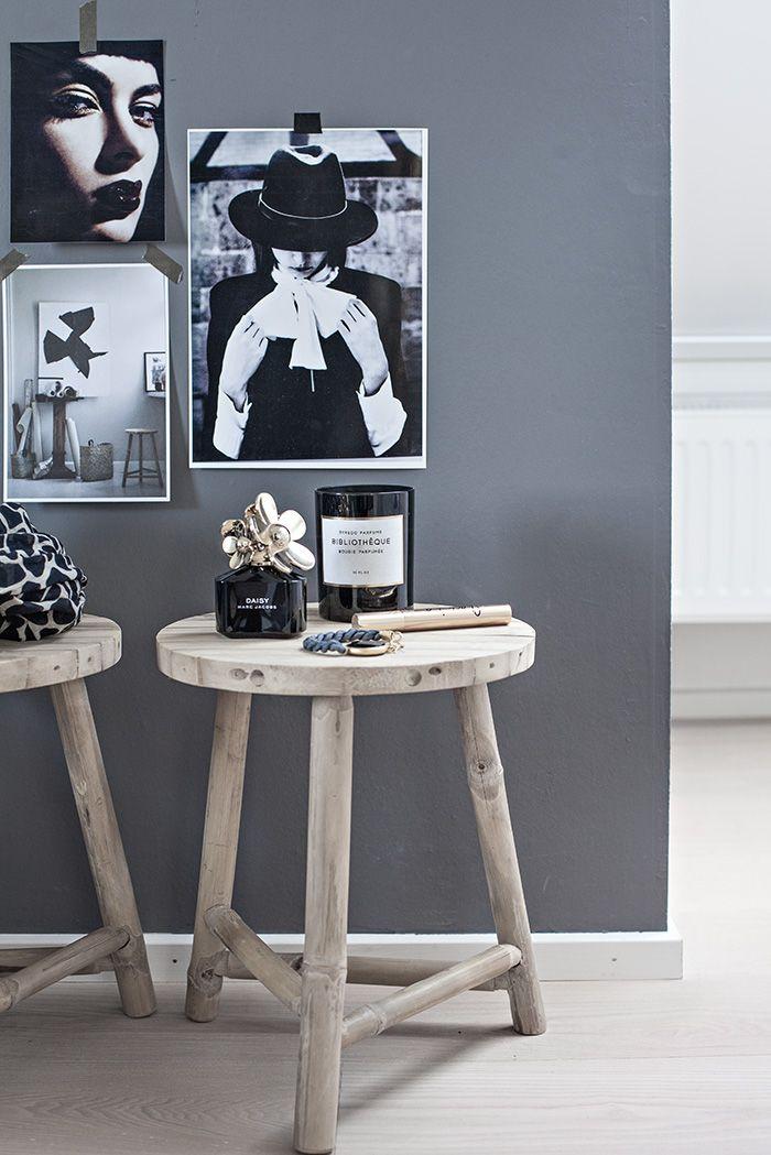 wood, grey & black