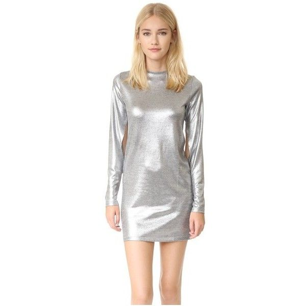 Cheap Monday Sound Dress ($80) ❤ liked on Polyvore featuring dresses, silver, white metallic dress, cheap monday, white long sleeve dress, white day dress and white long-sleeve dresses