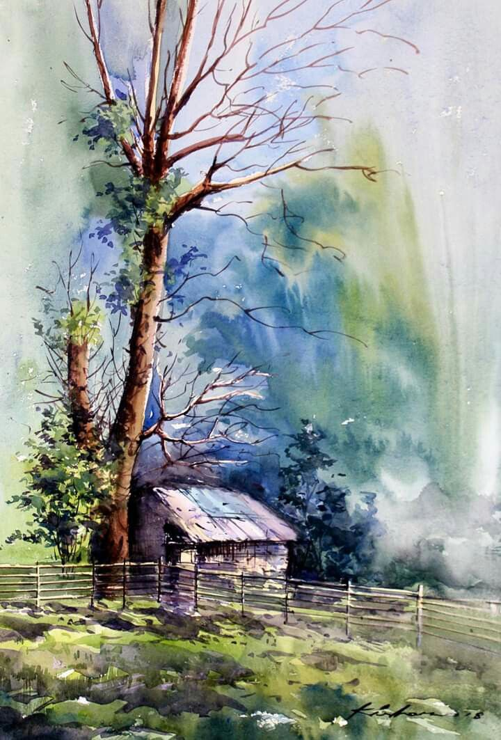 Pin By Suzi Foust On My Favorate Watercolor Landscape Paintings Watercolor Paintings Nature Landscape Paintings Acrylic