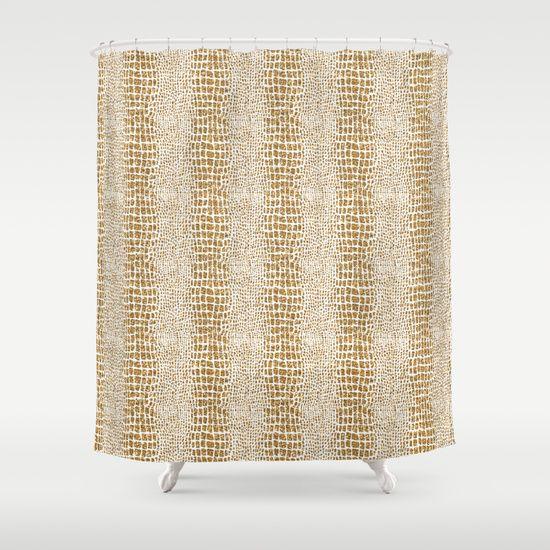 Gold Glitter Alligator Print Shower Curtain