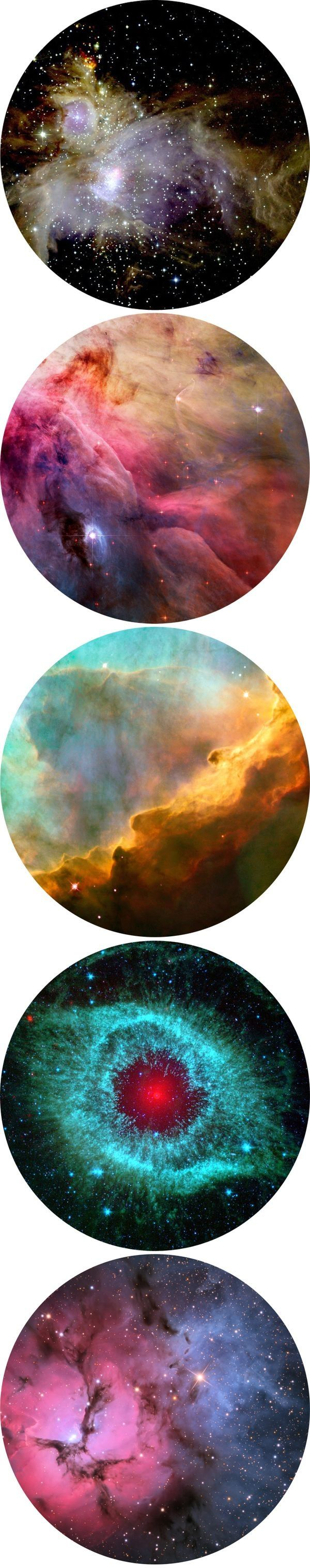 These circular space pictures are really clever as the shape of them makes them actually look like undiscovered planets.