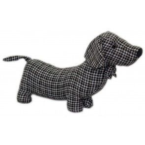 Herringbone Fabric Sausage Dog Doorstop 35cm Black Dachshund