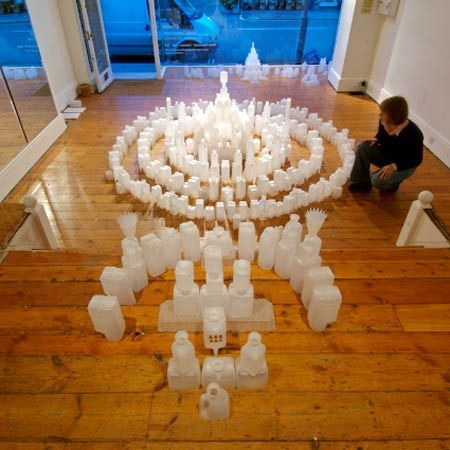 London-based artist Gayle Chong Kwan has created a fantasy landscape out of used plastic food packaging.