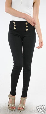 BLACK Sexy Sailor Stretch HIgh Waist Pin Up Nautical Buttons Pants.  Available in S, M and L  $22.59
