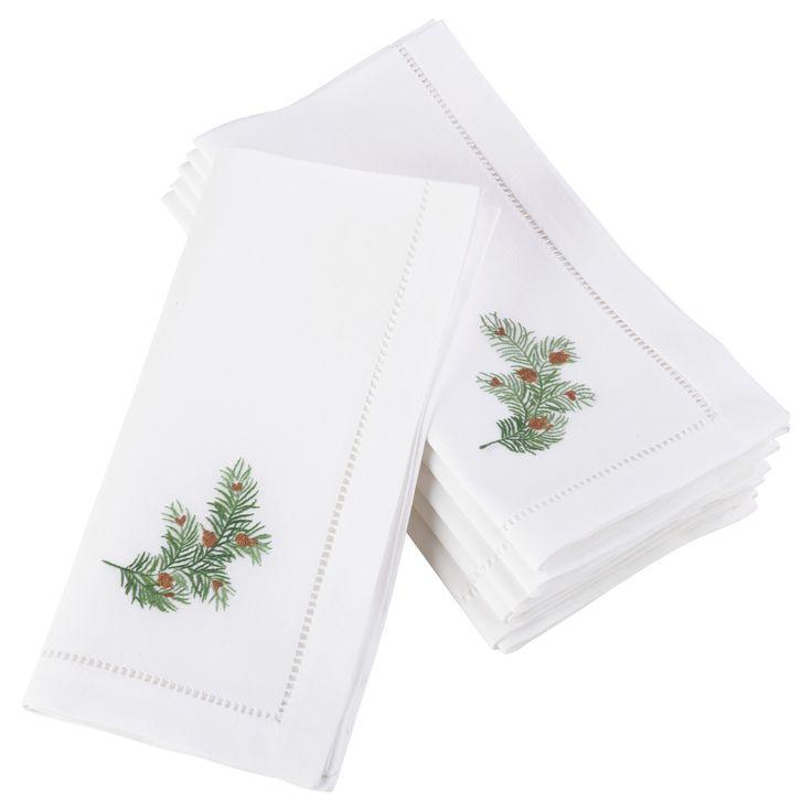 (Set of 6) White Embroidered Pine Leaf Christmas Napkin (20) - Saro Lifestyle