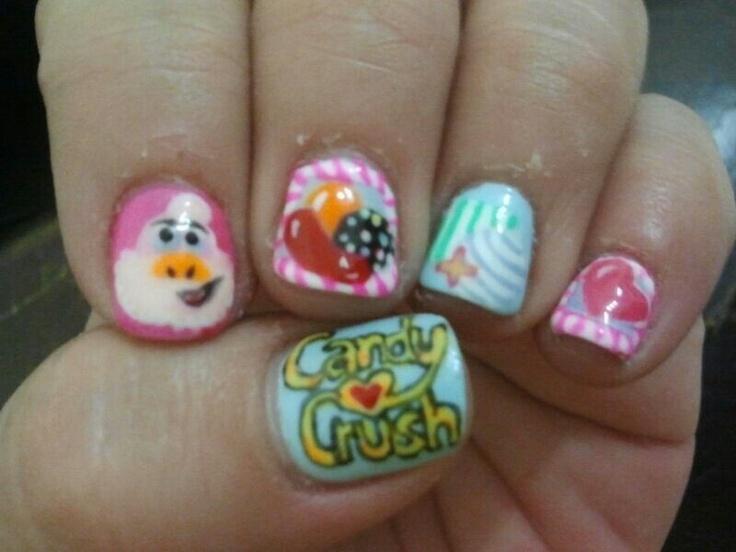 candy crush Nail art on gelish