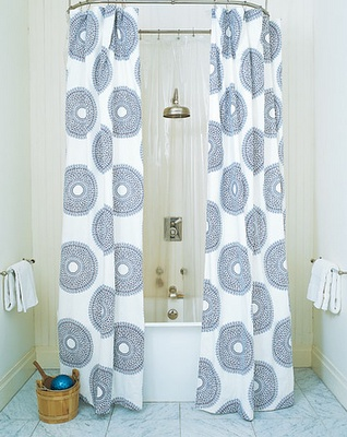 Great pattern on the shower curtain. But if it's not tucked into the tub, there's going to be water all over the surrounding floor!  http://www.bathroom-paint.net/