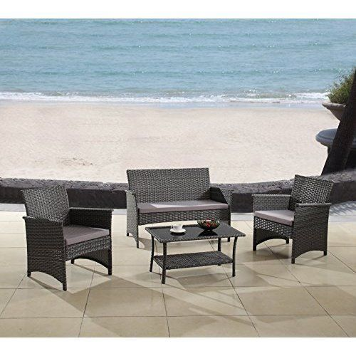 Outdoor Patio 4Pcs Rattan Furniture Wicker Set Chairs Couch Table Garden Gray #Kbrand