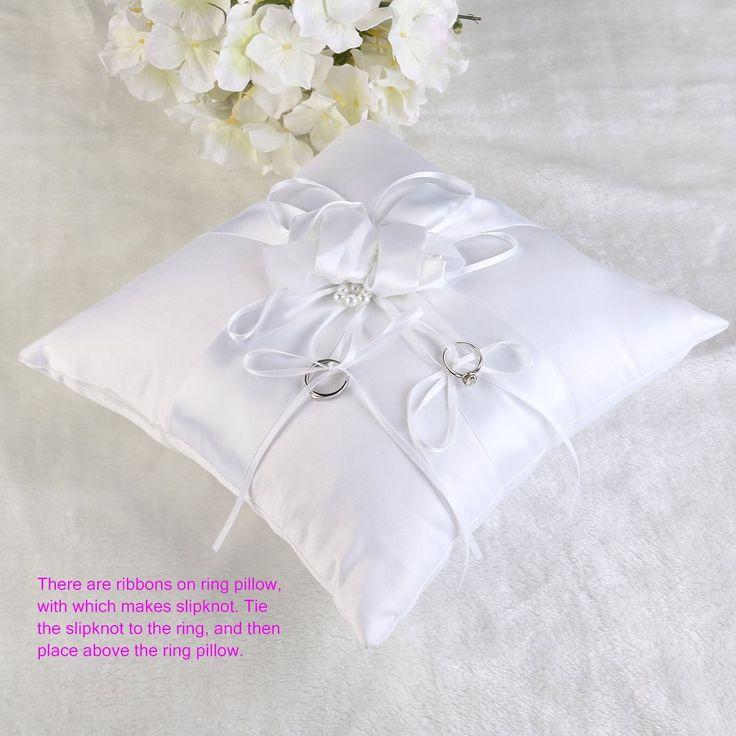 Tinksky Romantico anello di nozze cuscino anello nuziale al portatore cuscino cuscino con nastri di perle 25x25cm (bianco puro): Amazon.it: Fai da te