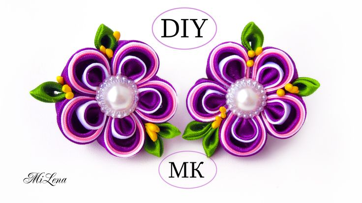 Резинки канзаши, МК / Простые канзаши / DIY Scrunchy with Kanzashi flower
