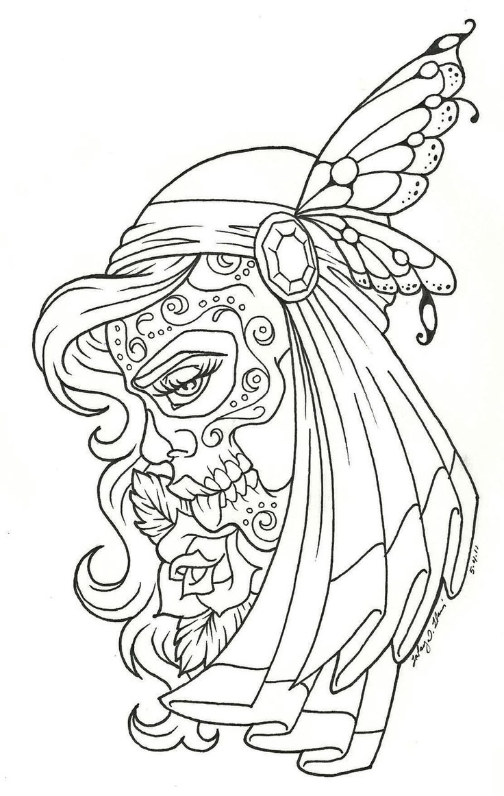 Sugar skull woman | skull | Pinterest | Coloring, The dead and Women's