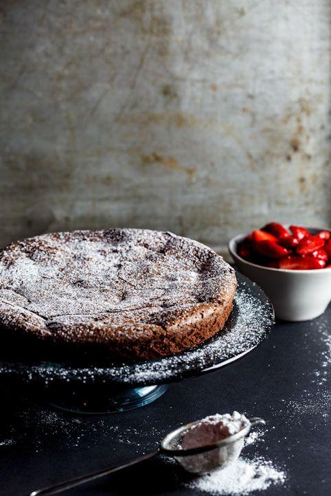 Flourless Chocolate Torte with Macerated Strawberries #glutenfree