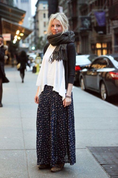 print bottoms · white top · scarf