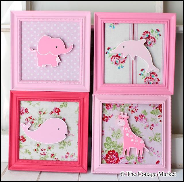 framed fabric art for baby's room