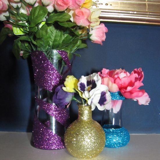 How to make DIY glitter decorated vases and bottles via @Guidecentral - Visit www.guidecentr.al for more #DIY #tutorials