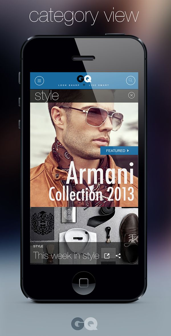 GQ magazine #mobile #webdesign by Calvin Pedzai, via Behance